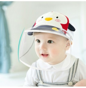 Baby toddlers anti-spray saliva direct splash baseball hats with clear face shield dust virus proof summer breathable sunscreen protective cap for children