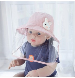 Baby toddlers anti-spray saliva outdoor sun cap with face shield