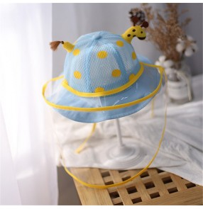 Baby toddlers cartoon anti-spray saliva hat with face shield giraffe sunscreen protective cap for children