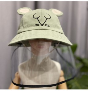 Baby toddlers cotton sunhats with safety face shield anti-spitting virus dust proof children fisherman's hats