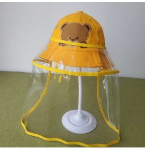 Baby toddlers outdoor fisherman's cap with clear face shield anti-spray saliva direct splash proof sunscreen protective cap for kids