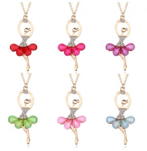 Ballerina Ballet dance necklace for kids Little Girl Necklace Student birthday Gift Crystal Pendant recitial ballet performance Short Clavicle Chain for children