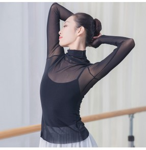 Ballet modern dance clothes mesh tops adult ballet see through tops for women practice clothes high neck long sleeve yoga classical dance blouses