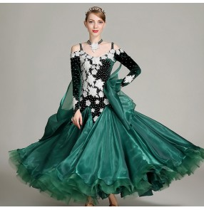 Ballroom competition dancing dresses for women girls dark green wine velvet long sleeves diamond professional waltz tango dancing dresses