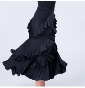 ballroom dance skirt for women female Black color ruffles big skirted ballroom waltz tango dance skirts