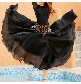 Ballroom dance skirt for women leopard print with black colored ballroom Waltz ballroom dance party dress