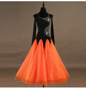 Ballroom dancing dresses for women girls black and orange patchwork rhinestones long sleeves stage performance professional waltz tango dancing dresses