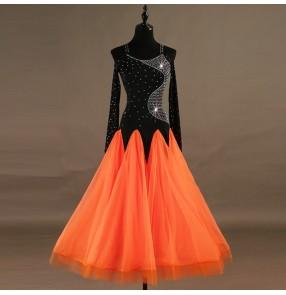 Ballroom dancing dresses for women girls black and orange patchwork rhinestones long sleeves stage performance professional waltz tango dancing dresses