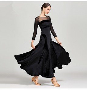 Ballroom dancing dresses wine black long sleeves waltz tango dancing flamenco dresses for women lady