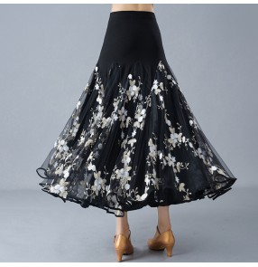Ballroom dancing skirt for women female competition white embroidery flowers big skirted flamenco practice waltz tango dancing skirts