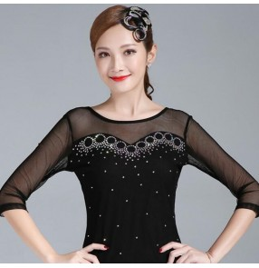 Ballroom dancing tops for women diamond competition latin dance tops stage performance blouses