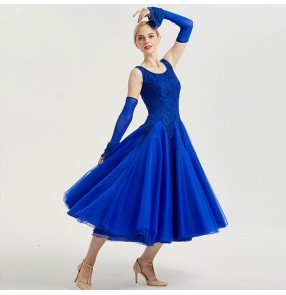 Ballroom dress flamenco performance skirt royal blue re lace competition professional waltz tango dancing long dress clothes