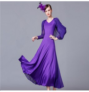 Ballroom dress for women flamenco black red violet long sleeves long length stage performance competition waltz tango dresses