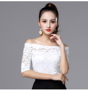 Ballroom latin dance tops for women female white lace short sleeves professional competition stage performance samba chacha rumba salsa dance t shirts