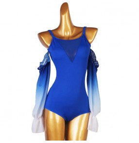 Ballroom Latin Flamenco Dance Bodysuits for women girls royal blue gradient colored  dew shoulder stage performance body tops customizable jumpsuits