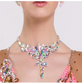 Ballroom waltz laitn competition dance Rhinestones bling necklace handmade choker