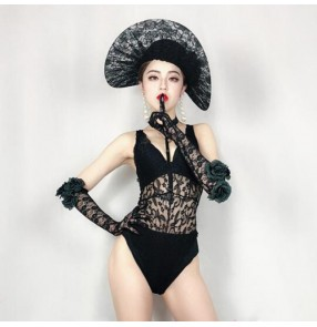 Bar female singer gogo dancers costume stage costume DS model photography clothing retro black sexy lace jumpsuit for women