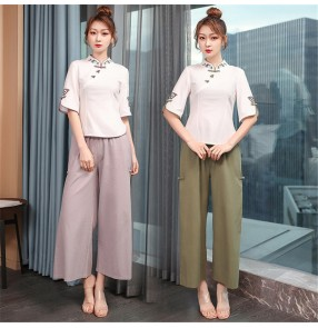 Beauty salon beautician work clothes female traditional Chinese medicine physiotherapy health moxibustion hall technician cotton and linen suit