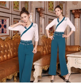 Beauty salon professional uniforms Chinese foot therapy health club technician uniforms foot bath shop suit for female