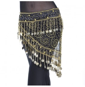 belly dance hip scarf skirt for women gold black Coin mesh color piece waist chain belly dance luxury waist chain belly dance belt