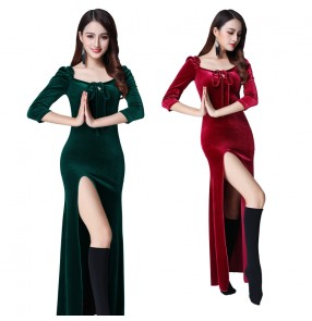 Belly dance practice clothes Indian Oriental dance performance suit velvet sexy side slit long dress