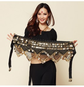 Belly Dance Scarf Costume Silver Coins Skirt Belt Hip Wrap Waist Chain Professional Stage Clothing Woman Dance Wear