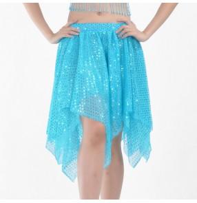 Belly dance skirts for women girls white silver blue red sequins glitter modern dance belly dance costumes belly dance irregular hem skirts for women