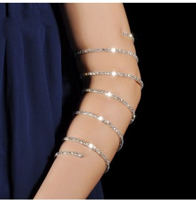Belly dance tribal arm band for female jewelry show performance bracelet long sequin chain rhinestone bracelet accessories arm chain dance