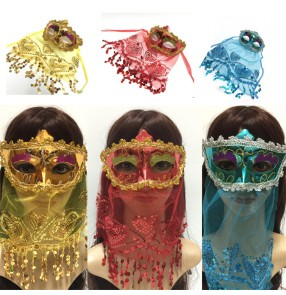 Belly dance veil masks Masquerade Props Lace Indian Veil Mask Sexy Belly Dance Mask Festival Performance Mask