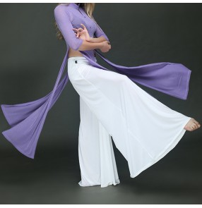 Belly dance white wide leg pants Yoga ballet dance practice pants Ice silk exercises pratice gymnastics wide leg pants dance suit