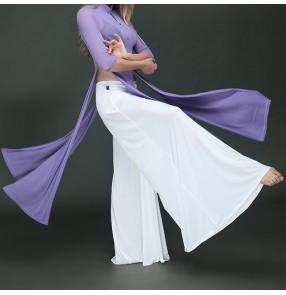 Belly dance white wide leg pants Yoga ballet dance practice pants Ice silk exercises pratice gymnastics wide leg pants dance suit