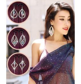 Belly latin dance diamond bling earrings for women singers stage performance model show earrings colored diamonds dance performance accessories earrings