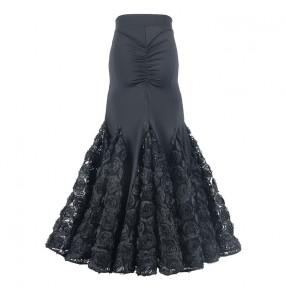 black ballroom dance skirt for female three-dimensional rose embroidery national standard foxtrot tango waltz dance ballroom dance pleated mermaid skirt for female