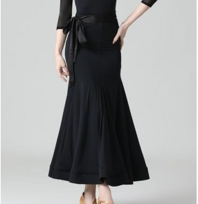 Black Ballroom Dance Skirts for women Waistline with ribbon bowknot waltz tango foxtort dance long skirt for lady stage performance costumes