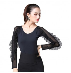 Black ballroom dance tops for female women latin salsa chacha rumba dance blouses long ruffles sleeves