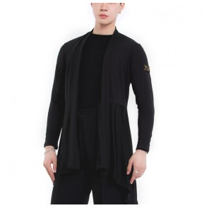 Black Ballroom dance tops Latin dance top Cloak cardigan for men and women practice clothes modern dance training clothes