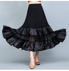Black ballroom dancing skirts for women female lace patchwork satin ribbon ruffles swing skirts tango waltz dance skirts for female