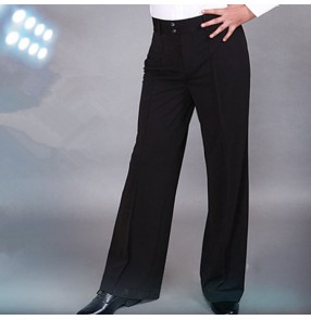 Black ballroom latin waltz tango dancing pants for men male competition stage performance long salsa chacha long trousers
