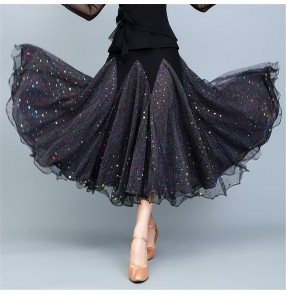 black ballroom Waltz dance skirt forwomen rainbow sequined ballroom dance competition performance skirt female ballroom dance big swing skirt modern dance skirt