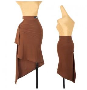 black brown Latin dance skirt Female adult salsa chacha dance skrits bag hip fishtail hollow sexy irregular practice half-length dance skirt