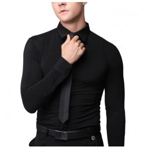 Black color ballroom latin dance shirts for men youth stretch waltz tango flamenco dance shirt standard professional Latin practice Long sleeve tops