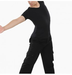 Black color Latin ballroom dance Shirts for men male adult Short-sleeved top modern dance clothes standard ballroom dance dance clothes