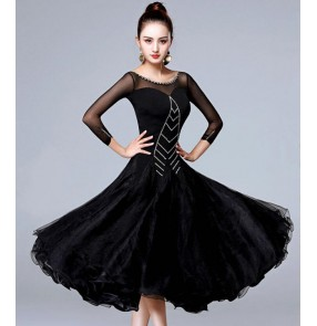 Black colored rhinestones Women's black colored ballroom dancing dresses waltz tango dance dresses