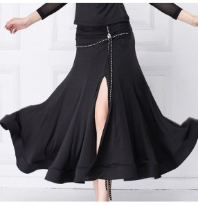 Black colored side split diamond women's ballroom dance skirts stage performance profesional waltz tango dance skirts
