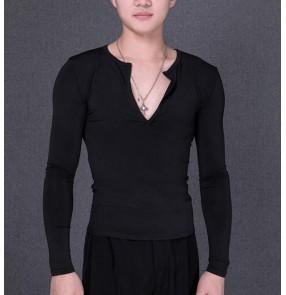 Black colored v neck long sleeves latin shirts Men's latin dance tops shirts ballroom waltz tango flamenco dance top
