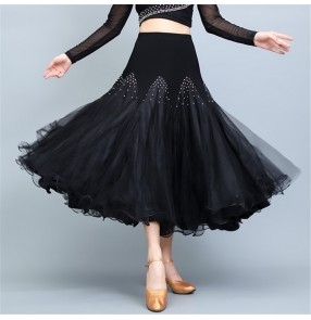Black competition ballroom dance skirts for women female stage performance diamond bling waltz tango ballroom dancing skirts