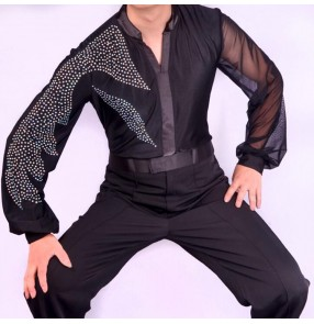 Black diamond latin shirts for male competition stage performance professional men's ballroom tango waltz dancing leotard tops shirt