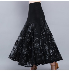 black flowers Ballroom dancing skirts competition stage performance waltz tango dance skirts