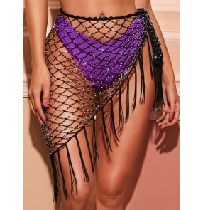 Black hollow bling belly dance triangle hip scarf  tassels latin skirts for women female stage performance wrap skirts hollow hip scarf