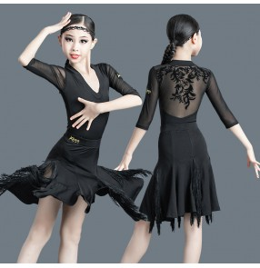 Black lace flowers back latin dance dress for kids girls modern salsa dance dress abito da ballo latino in pizzo nero per bambini